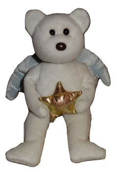 45faa21a75f TY Beanie Baby Star White Bear Gold Star Blue Wings Christmas Angel Holiday  TH  Ty
