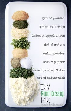 DIY Homemade Ranch Dressing Mix My family love ranch dressing. After researching many homemade ranch dressing mixes, I have perfected a DIY Homemade Ranch Dressing Mix you will love. Homemade Spices, Homemade Seasonings, Homemade Ranch Seasoning, Real Food Recipes, Cooking Recipes, Yummy Food, Smoker Recipes, Rib Recipes, Cooking Tips