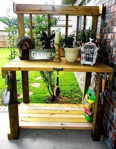 outdoor space patio area, decks patios porches, outdoor furniture, outdoor living, Potting bench built with leftover lumber Pergola Design, Patio Design, Garden Design, Outdoor Spaces, Outdoor Living, Outdoor Decor, Outdoor Furniture, Diy Furniture, Outdoor Crafts
