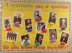 I Mustache You A Question Music Bulletin Board Idea.great for my composer project in December! Classroom Bulletin Boards, Music Classroom, Classroom Decor, Classroom Walls, Preschool Bulletin, Classroom Organization, Organization Ideas, School Displays, Book Displays