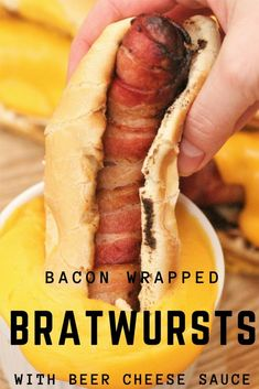 Bacon Wrapped Bratwursts with Beer Cheese Sauce
