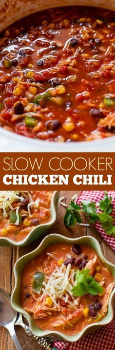 My FAVORITE chicken chili is all made in the slow cooker, set it and forget it. No extra steps!!