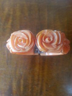 Bakelite Bracelet deeply carved orange rose hinged by RoseMariesAntiques on Etsy