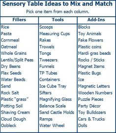 large collection of ideas for sensory bins for toddlers and preschoolers, with details on all these ideas for sensory table fillers, tools, and toys to add in. Preschool At Home, Preschool Curriculum, Preschool Classroom, Preschool Learning, Toddler Preschool, In Kindergarten, Early Learning, Themes For Preschool, Infant Classroom Ideas