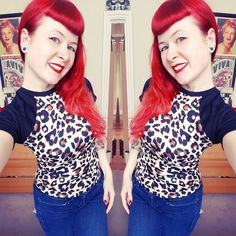 Leopard Baseball Tee by Miss Fortune. Bad girl rockabilly style! Model: Stephanie Jay. Clothing copyright Miss Fortune.