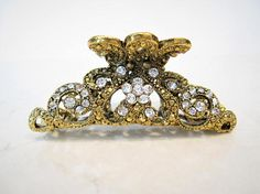 Gold art deco textured metal bow hair claw clip jaw clip