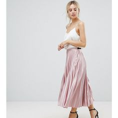 Uttam Boutique Pleated Exclusive Skirt (€45) ❤ liked on Polyvore featuring skirts, pink, high-waist skirt, pink pleated skirt, high waisted knee length skirt, high waisted pleated skirt and uttam boutique