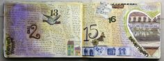 Purple and green art journal page for a week. By @karen grunberg