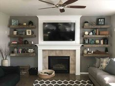 Small Living Room With Fireplace Decor Beautiful Rustic Living Room Barnwood Floating Shelves Shiplap Fireplace Living Room Remodel, Home Living Room, Living Room Designs, Living Area, Living Spaces, Cozy Family Rooms, Family Room Design, Shelves Around Fireplace, Decorating Living Rooms