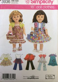 """Simplicity 3936 UNCUT Clothes for 18"""" Doll by Lonestarblondie on Etsy"""