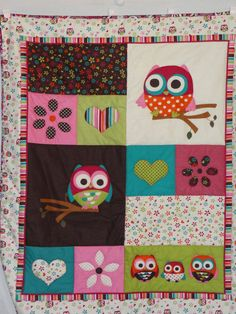 Hearts Flowers and OWLS Baby Quilt for girls  by grannysbabyquilts