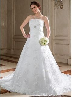 Wedding Dresses - $242.99 - A-Line/Princess Strapless Chapel Train Satin Lace Wedding Dress With Sash Beadwork Crystal Brooch Sequins  http://www.dressfirst.com/A-Line-Princess-Strapless-Chapel-Train-Satin-Lace-Wedding-Dress-With-Sash-Beadwork-Crystal-Brooch-Sequins-002000123-g123