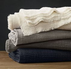 Linen-Wool Waffle Weave Oversized Bed Throw