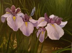 """Buy Oil painting Irises.(the cycle of """"Moments"""") - pale lilac, green, yellow"""
