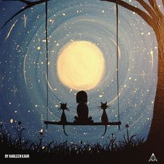 http://paintcollar.com/harleenkaur3135 . . Little girl is enjoying her front row seats for this movie with her best friends.  This beautiful artwork has been done by @_coloursofoctober_ . . #moonlight #stars #silhouette #romantic #petlover #perfectview #artwork #paintcollar