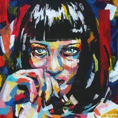 Mia Wallace by Sung Jun Kim Portrait Illustration, Graphic Illustration, Street Art Photography, Image Makers, Canvas Artwork, Face Art, Art Forms, Pop Art, Contemporary Art