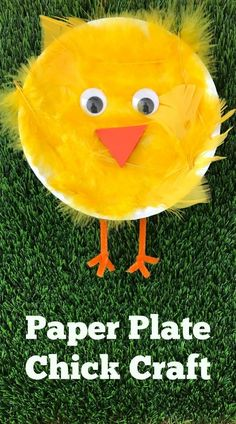 """Easy Spring Craft: Paper Plate Chick Craft  Click here  for directions plus a fun video for kids to watch on """"how to"""" make this craft! spring crafts, easy paper plate crafts, spring paper plate crafts, feather chick craft"""