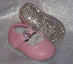 Baby Bling Shoes : Rhinestone & Leather Flower Strap Baby Shoe