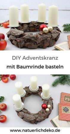 Make natural Advent wreath with tree bark Advent Wreath Candles, Christmas Time, Christmas Wreaths, Natural Christmas, Tree Bark, Wood Slices, Diy Wreath, Sweet Home, Place Card Holders