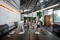 totally open work space—desks back-to-back
