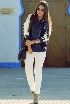@roressclothes closet ideas #women fashion Sporty and Casual Look with White Jeans