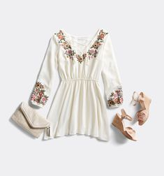 Spring Dresses. I love the embroidery of peasant tops/dresses.