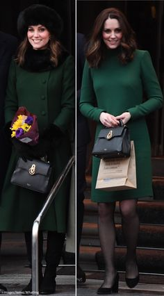 1/30/2018 - Stockholm, Sweden. The Duchess wore a new bespoke Catherine Walker coat and dress