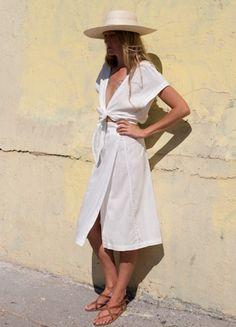 White Midi Summer Dress with Tie and Kimono Sleeves