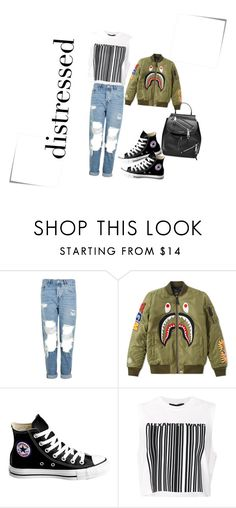 """""""distressed denim. converse.bomber. muscle shirt. bucket bag"""" by emeraldz ❤ liked on Polyvore featuring Post-It, Topshop, A BATHING APE, Converse, Alexander Wang and Marc Jacobs"""