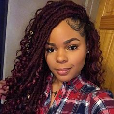 Goddess Faux Locs Crochet Hair - crochet braid styles -You can find Locs and more on our website. Box Braids Hairstyles, Girl Hairstyles, Black Hairstyles, Protective Hairstyles, Protective Styles, Teenage Hairstyles, Hairstyle Ideas, Black Girl Braids, Braids For Black Hair