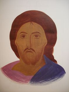 Face of Christ.  Style of Panselinos. Version 2. Stage 1.