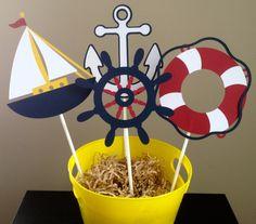 Nautical Themed Centerpiece - Set of 8 - Customizable. $10.00, via Etsy.