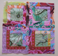 Kaffe Fassett Log Cabin block