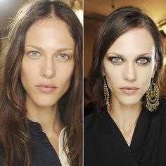 Die wunderschöne Aymeline Valade sieht auch ungeschminkt top aus - zeigt uns aber auch in diesem Bildervergleich, wieviel so ein ordentliches Augen Make-up ausmachen kann.