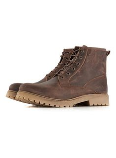 Brown Leather Lace Up Boot