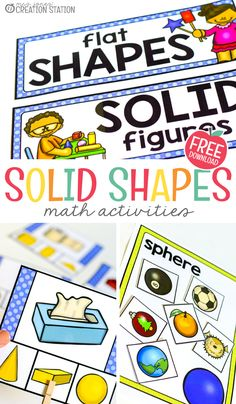 3D shapes are all around us! Young learners love showing off their knowledge by relating real objects to what they learn in this unit. Perfect for kindergarten math classes, you will find out how to use a math block to teach this unit along with a freebie to use right now! Shape Worksheets For Preschool, Shapes Worksheets, Toddler Learning Activities, Math Activities, Printable Shapes, Teaching Shapes, Math Blocks, Solid Shapes, First Grade Math
