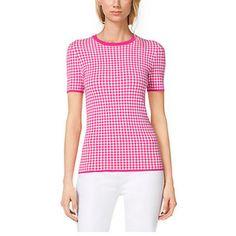 Michael Kors Gingham Stretch Viscose Tshirt in Geranium, Size: L