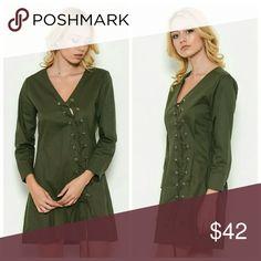 Sexy Lace-Up Fall Dress V-neck Lace-Up mini dress. Relax fit.   100% Cotton Dresses Mini