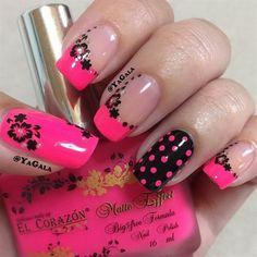 beautiful pink and black nail designs 2017 Nail Designs 2017, Black Nail Designs, Best Nail Art Designs, Pretty Nail Art, Beautiful Nail Art, Cool Nail Art, Nail Art Hacks, Fancy Nails, Cute Nails