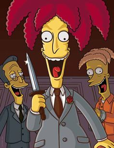 Character: Sideshow Bob Job: Attempting Pro Criminal Episode: Krusty Gets Busted Description: A murderous criminal who attempts to murder Bart Simpson and frame Krusty the Clown