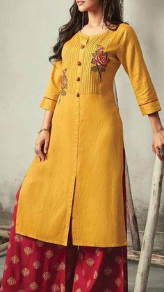 Best 12 Beautiful Cotton Kurti with gheredar plazo. Kurta Designs Women, Kurti Neck Designs, Salwar Designs, Kurti Designs Party Wear, Blouse Designs, Pakistani Dresses, Indian Dresses, Casual Dresses, Fashion Dresses
