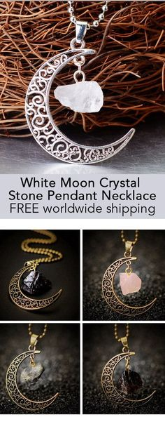 White Moon Crystal Stone Pendant Necklace