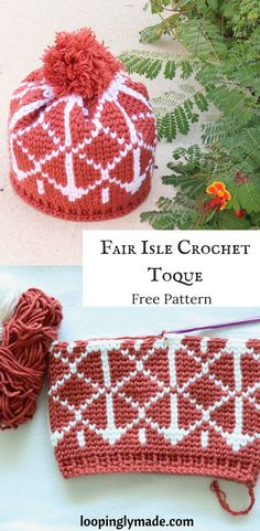 Crochet Beanie Design This Fair Isle Crochet Toque pattern is a stunning design that uses super bulky yarn and a colour work technique known as the fair isle crochet. Super cozy for the cool months. Crochet Adult Hat, Crochet Beanie Pattern, Crochet Mittens, Free Crochet, Knit Crochet, Crochet Hats, Crochet Clothes, Crochet Phone Cases, Tapestry Crochet