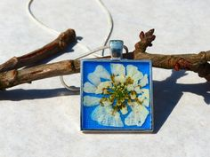 White Flower from Grandma/ Real flower in resin  from AstroScent by DaWanda.com