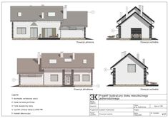 Elewacje, widok, kolorowe, opisy / Фасады мансардного дома, фасад дома Residential Architecture, Floor Plans, Projects, Floor Plan Drawing