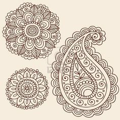 Mehndi flower and paisley doodle embroidery idea- also looks like Zentangle - Fabulous!