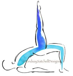 Yoga art print by Lindsay Satchell Designs - Bridge Pose with extended leg  https://www.etsy.com/listing/269268943/yoga-art-print-bridge-pose-with-extended