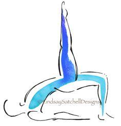 Yoga art print by Lindsay Satchell Designs - Bridge Pose with extended leg  https://www.etsy.com/listing/269268943/yoga-art-print-bridge-pose-with-extended
