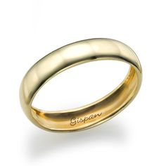 Classic Wedding Ring Wedding Band 14k Yellow Gold by Gispandesigns