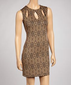 Take a look at this Taupe Geometric Teardrop Cutout Dress by Bailey Blue on #zulily today! Just a peek of something.
